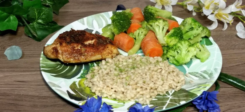 Paprika chicken with pearl barley. Pair with your favorite vegetable for a perfect meal.