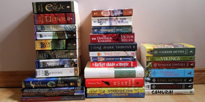 TBR update - A pile of unread books.