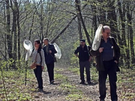 Las koło Rezerwatu Spała. Od lewej: Ania Witek, Boguś Soszyński, Paweł Trzciński oraz na pierwszym planie pogromca Malloty fuciformis Zbyszek Mocarski