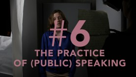 A person with red hair and a blue jumper stands facing the viewer. There is pink text over them reading '#6 THE PRACTICE OF (PUBLIC) SPEAKING'