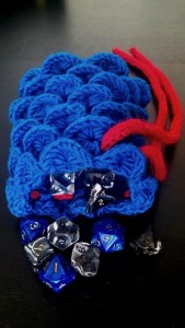 Dice bag crochet dragon crocodile stitch