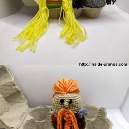 Norse god crochet Sif, Hel, Thor egg topper / crochet dieux et déesses scandinaves Sif, Thor et Hel.