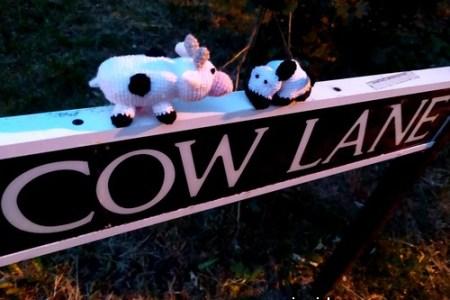 crochet vache cow lane street yarn bomb