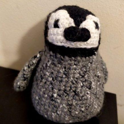 Crochet penguin baby for world penguin day