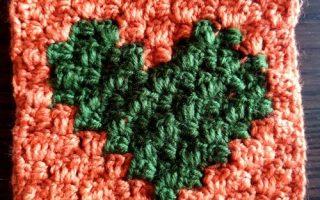 c2c crochet heart coeur love