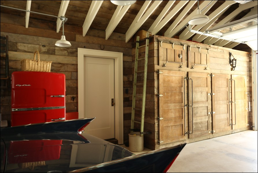 Adventures in Remodeling Part 2  the Garage   Inside Arciform Douglas Fir shiplap on walls and ceiling were sourced from local homes  being demolished and from Portland area reclaimed wood vendors