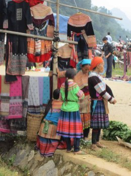 Flower Hmong women at the market
