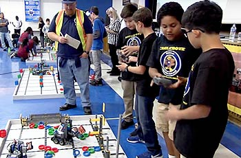 Students participating in robot competition.