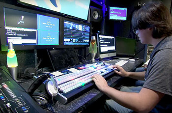 Center High School student working in video production class.
