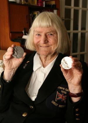 Dorothy Tyler with her two Olympic medals, photographed in 2008