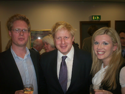 """Cheers: Clare Hilley, now a former Conservative councillor, pictured here with Boris Johnson and her husband, Steven George-Hilley. According to ex-councillor Hilley, Croydon voters are """"dumb"""""""