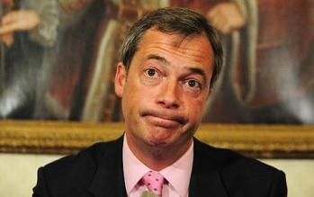 UKIP leader Nigel Farage after just hearing the latest news of his chums, and the chump, in Croydon