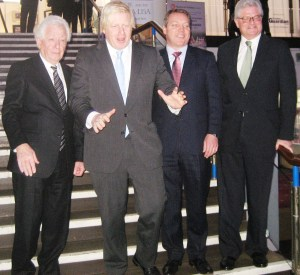 John Nelson, the chairman of Hammerson, right, at the Fairfield Halls announcement yesterday with Frank Lowy (left), his Westfield counterpart, London Mayor Boris Johnson, and David Atkins, Hammerson's CEO