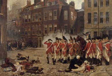 Under fire: troops were called in to deal with rioters in London in 1780, as depicted in this painting by Russell Drysdale