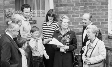 Selling out: Margaret Thatcher, accompanied by Tory GLC leader Horace Cutler, hands over the keys to a council house in 1980. By 1987, more than 1 million council-owned homes had been flogged off, often at massive discounts, with councils banned from replacing their housing stocks