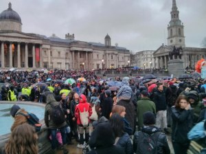 The anti-Thatcher protest in Trafalgar Square yesterday, not coming to a TV screen near you any time soon