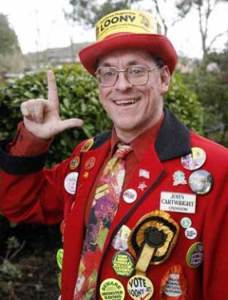 Not a typical Croydon Tory: John Cartwright in his Loony Party outfit