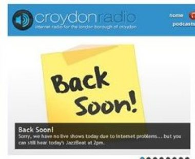Croydon Radio has had periods off-air before. No one is saying how long it might be before they resume live programmes The embarrassing sign of Croydon Radio's live programmes being off-air last week