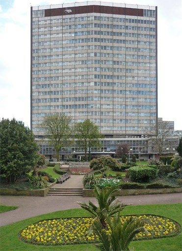 Taberner House, the soon-to-be-vacated home of Croydon Council's offices for 40 years, seen from Queen's Gardens, some of which could be sacrificed to make way for 440 flats