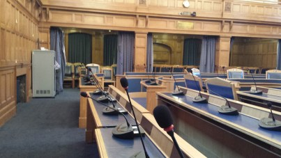 The council chamber at Croydon Town Hall, complete with £176,000-worth of new audio kit, installed during the summer recess