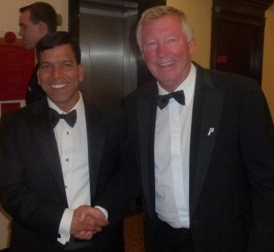 Prem Goyal, left, recruited help from many high-profile Labour figures in Bermondsey, though Sir Alex Ferguson is not thought to have been among the donors to that cause