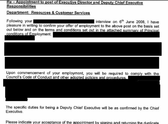 "Nathan Elvery's 2008 letter of appointment as Croydon Council's deputy CEO, with the clear requirement ""to comply with the Council's Code of Conduct"""