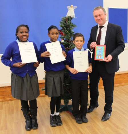 Steve Reed MP and the Gonville Primary Christmas card designers,