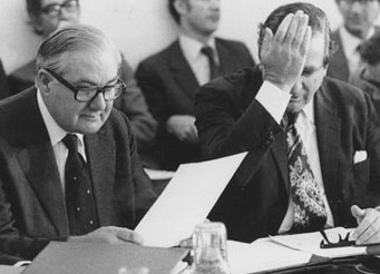 Face-palm moment? Prime Minister James Callaghan, left, and his Chancellor, Denis Healey, sought to avoid introducing child benefit by misleading Labour back benchers