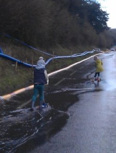 Fun for some on a Sunday morning, as the closed A22 Godstone Road offered a novel walking route