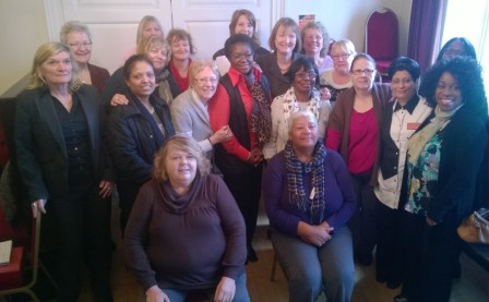 Harriet Harman and Sarah Jones (at the back, centre of shot) with some of the women from Croydon and south London who they met this morning