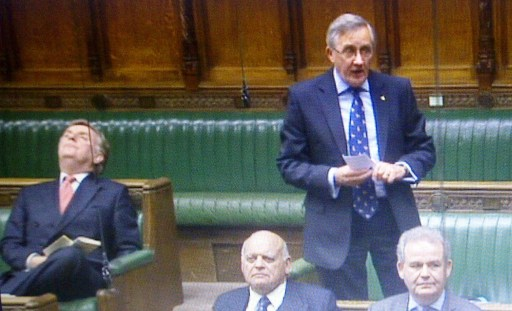 """It's a hard life as a backbencher: """"Sir"""" Tricky Dicky Ottaway, left, in the House of Commons. Is he asleep? or just """"resting his eyes""""?"""