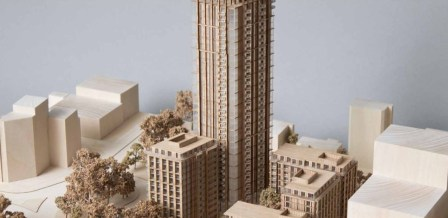 The soaring ambition of the CCURV scheme for Taberner House and Queen's Gardens, including the 32-storey tower block. The smaller building in the foreground is on what is now Queen's Gardens