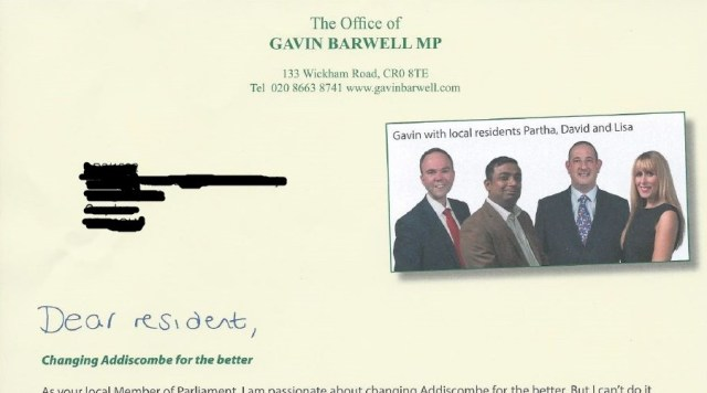 The more recent letter from Barfwell's office to Addiscombe residents, announcing the Tory candidates in May's local elections. Where's the Portcullis gone?