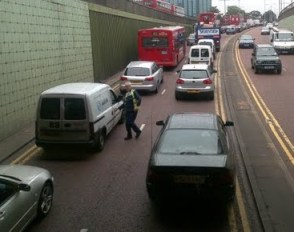 One of the dual carriageways that run through central Croydon: traffic jams, pollution and accidents do nothing for the quality of life in the borough
