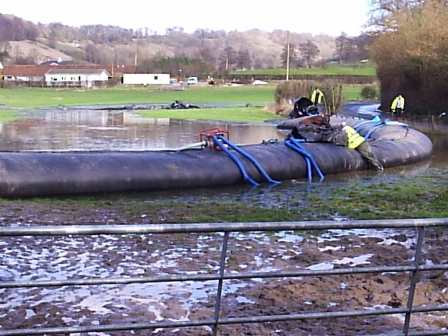 """The """"Woldingham Weiner"""", holding back water and flooding a farmer's field, rather than allow it to flow down to Whyteleafe and beyond"""