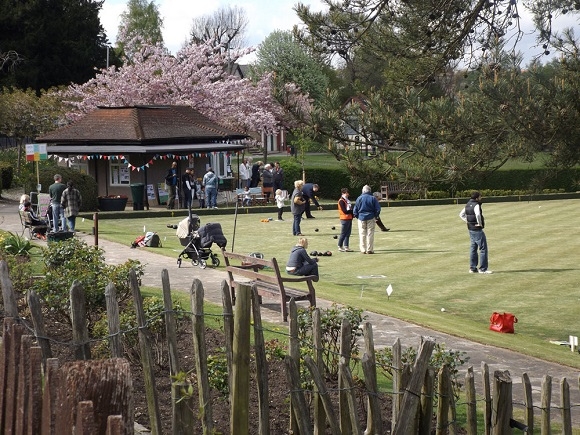 The scene at a busy Marlpit Lane opening day last Saturday. The bowling green is open from 2pm most days, circumstances permitting