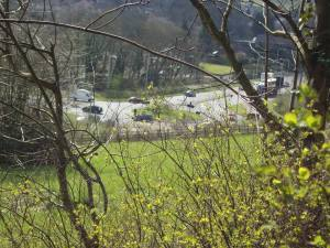 This is the view to the roundabout that would take the southern exit road from Cane Hill
