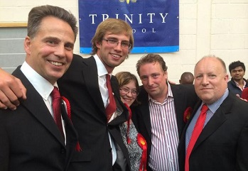 The three new councillors for Ashburton ward on election night or early morning), pictured with the deputy leader of the local Labour group, Stuart Collins left) and leader Tony Newman right): Stephen Mann second left), Maddie Henson and Andrew Rendle