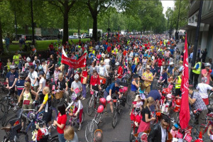 Thousands of cyclists, including dozens from Croydon, pedalled into central London yesterday to call for safer roads
