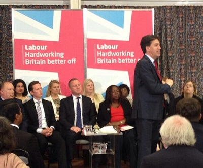 Ed Miliband addresses the Labour Party faithful in New Addington yesterday: on the front row behind him (from left) are Croydon Labour leader Tony Newman, Oliver Lewis, a candidate in New Addington, Steve Reed OBE, Louisa Woodley, the other Labour candidate in New Addington