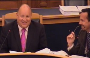 Council Leader Tony Newman, left, and his choice of CEO, Nathan Elvery, share a joke at last night's cabinet meeting