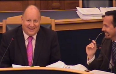 "Council ""Leader"" Tony Newman, left, and his choice of CEO, Nathan Elvery, share a joke at last night's cabinet meeting"