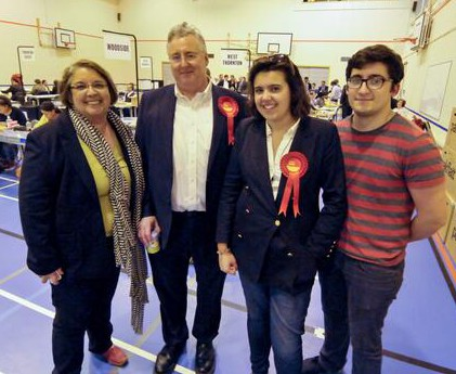 The Hon Emily Benn with her family on election night in May: from left, Nita Clarke, Viscount Stansgate and, right,