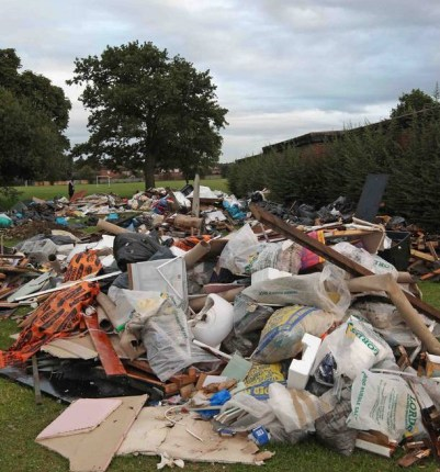 The scene in Ashburton park over the weekend. The council has cleared the site, at public expense. But who dumped it?