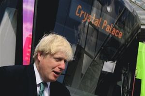 London Mayor Boris Johnson, pictured with the non-existent Crystal Palace tram service (as featured on the website of Gavin Barwell MP)