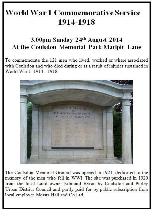 Coulsdon Memorial service