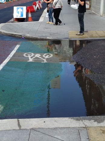 No through road: how improvement works on South End - at the entrance to Spice's Yard - has cut off the cycle lane