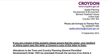 The council letter distributed to landlords in the borough last week