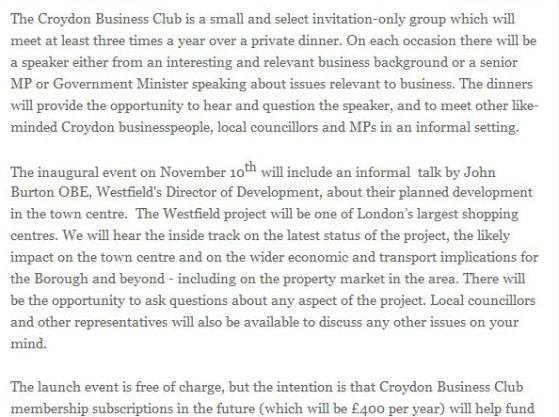 How MP Barwell and his Tory colleague have offered up access to Westfield at their fund-raising Business Club