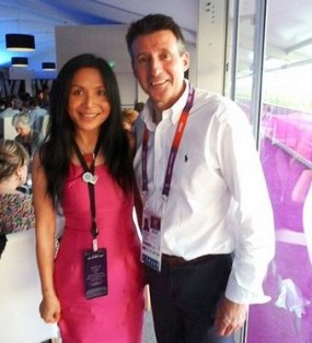 Lord Coe and Lady Xuelin Bates, one of the named sponsors of the ZhongRong Palace scheme, at the London Olympics in 2012
